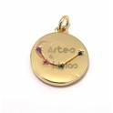Pendente Latão AQ Signo Aquário Constelação Zircónias - Dourado (15mm)