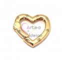 Fecho AQ Coração de Mola com Estrelas Zircónias - Dourado (20mm)