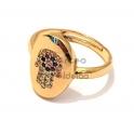 Anel Ajustável Deluxe Oval Mão Hamsá Cristais - Dourado