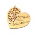 Pendente Aço Inox Coração Obrigado Educadora - Dourado (22mm)