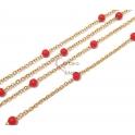 Corrente Aço Inox Com Bolinhas Vermelhas - Dourado [97cm]