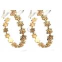 Brincos Crystal Deluxe Argolas Flores Zircónias - Dourado