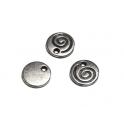 Pendente Zamak Moeda com Espiral - Prata (10 mm)