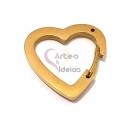 Fecho Aço Inox Coração Clip - Dourado (20mm)