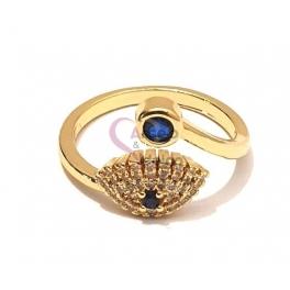 Anel Ajustável Crystal Deluxe Olho com Cristal Azul - Dourado