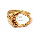 Anel Aço Inox Amarra - Dourado