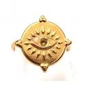 Anel Aço Inox Ajustável Olho - Dourado