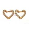 Brincos Crystal Deluxe Coração Frente de Zircónias - Dourado