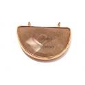 Pendente Meia Lua Pedra Cinza Creme com Dourado (32x25mm)
