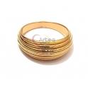 Anel Aço Inox Ondas - Dourado