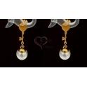 Brincos Aço Inox Coração Seta com Pérola - Dourado