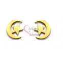 Brincos Aço Inox Lua e Estrela - Dourado (10mm)