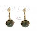 Brincos Aço Inox Meia Argola com Pedra Verde - Dourado