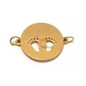 Conector Aço Inox Recorte Pezinhos - Dourado (20mm)