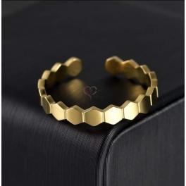 Anel Aço Inox Ajustável Geométrico - Dourado