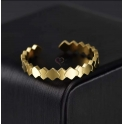 Anel Aço Inox Ajustável Geométrico de Bicos - Dourado