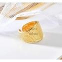 Anel Aço Inox Ajustável Efeito Ponteado - Dourado