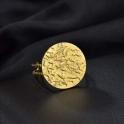 Anel Aço Inox Ajustável Circulo Martelado - Dourado