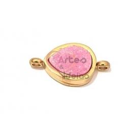 Conector Aço Inox Lágrima Druzy Rosa - Dourado (16x8mm)