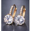 Brincos Crystal Deluxe Brilhante Cristal Transparente - Dourado