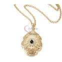 Fio Crystal Deluxe Medalhão Indian Ethnic [Preto] - Dourado