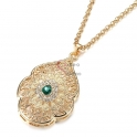 Fio Crystal Deluxe Medalhão Indian Ethnic [Verde] - Dourado