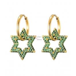 Brincos Aço Inox Estrelas de Zircónias Verdes - Dourado