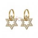 Brincos Aço Inox Estrelas de Zircónias - Dourado