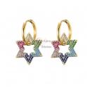 Brincos Aço Inox Estrelas de Zircónias Multicolor - Dourado