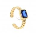 Anel Ajustável Crystal Deluxe Corrente Cristal Retangular Azul - Dourado