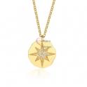 Fio Aço Inox Medalha Irregular Estrela Zircónias - Dourado