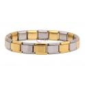 Pulseira Aço Inox Squares Alternados - Prateado e Dourado