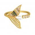 Anel Ajustável Crystal Cauda de Sereira Zircónias - Dourado