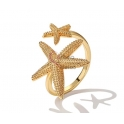 Anel Ajustável Deluxe Estrelas do Mar - Dourado
