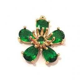 Pendente Latão AQ Flor Cristal Verde - Dourado (15mm)