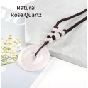 Colar Étnico Donuts Pedra Quartzo Rosa