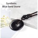 Colar Étnico Donuts Pedra Areia Azul