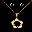 Conjunto Fio e Brincos Aço Inox Circulo Corações e Brilhantes - Dourado