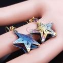 Brincos Aço Inox Estrelas Coloridas - Dourado