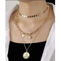 Fio Triplo Medalhinhas Roman Style - Dourado