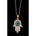 Fio Aço Inox Evil Eye Collection [Mão Hamsá Brilhantes] - Dourado