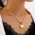 Fio Aço Inox Corações Pérola com Coração Relevos - Dourado