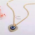 Fio Aço Inox Evil Eye Collection [Coração Fechado Brilhantes] - Dourado
