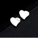 Brincos Aço Inox Corações - Prateado