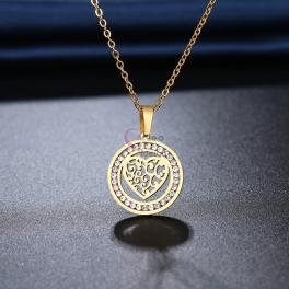 Fio Aço Inox Coração Recortes com Brilhantes - Dourado