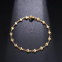 Pulseira Aço Inox Corações - Dourada