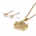 Conjunto Fio Aço Inox e Brincos Coroa Brilhantes - Dourado