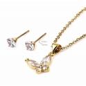 Conjunto Fio Aço Inox e Brincos Borboleta 4 Brilhantes - Dourado