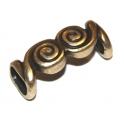 Conta Zamak Espirais Duplas - Bronze (Extra-Grosso)