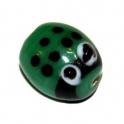 Conta de vidro murano joaninha - Green (15 x 12)